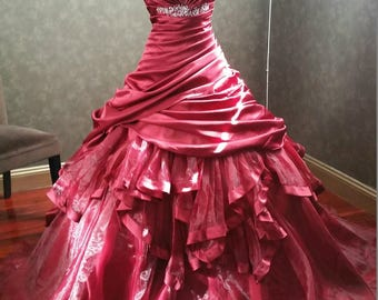 Burgundy Wedding Dress with Satin and Organza Layers