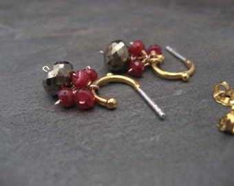 Ruby earrings, pyrite dangle, small hoops, cluster drop, mixed color, handmade jewelry, July birthstone