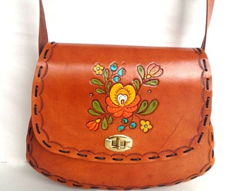 Hand Carved/Painted/ Tooled Leather Purse