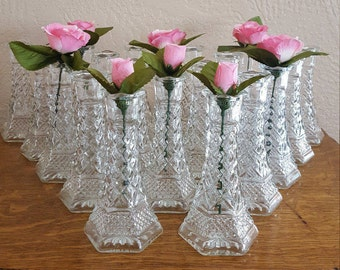 20 Wexford Clear Bud Vases - Wedding Decor - Centerpieces - Oak Hill Vintage - Lot 1