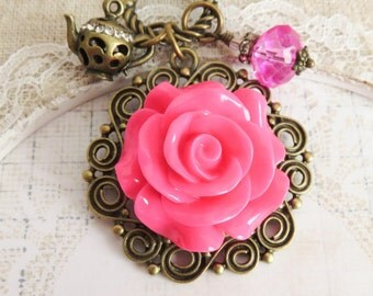 Hot pink flower necklace, large pendants, romantic rose necklaces, gift for her, bronze long necklaces, crystal jewelry