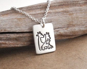Small Giraffe Family Necklace, Rectangle, Mom, Dad, Baby, New Mom Necklace, Fine Silver, Sterling Silver Chain, Ready To Ship