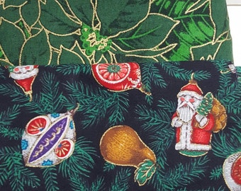 Four Christmas Fabrics / Chose print and size / Fat Quarter or 1/2 yard cuts /  Green, Red, Black