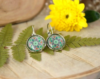 Green and Pink Ornament  Earrings, Silver Tone Plated, Glass Cabochon