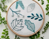 Beginner embroidery kit. Botanical stitch sampler. Modern needlework.Embroidery hoop art. Hand Embroidery tutorial.DIY kit. Leaf pattern