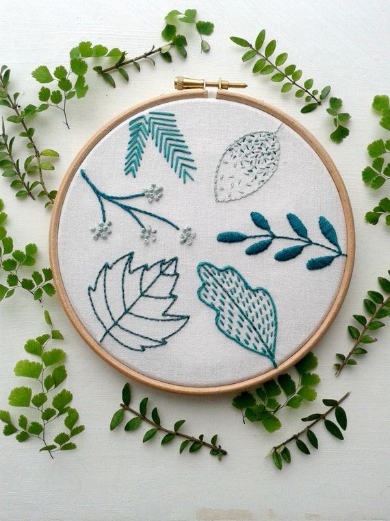 Beginner embroidery kit spring leaf stitch sampler modern