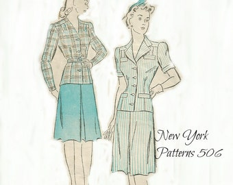 Two Piece Suit Pattern Bust 38 1940's New York Pattern 506, Size 20