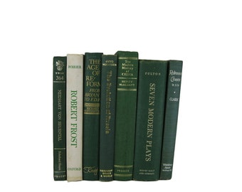 Green  Books , Old Green Books, Decorative Books, Books by Color, Book Home Decor,  Vintage Books, Instant Library, Housewarming Gift