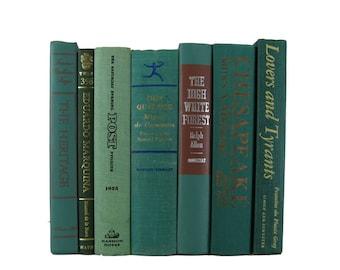 Books Green, Green Old Book Home Decor,  Decorative Books , Vintage Book Decor , Home Decor , Old Book Decor , Photo Prop , Bookshelf Decor