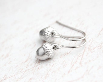 Tiny Acorn Earrings, Matte Silver Drop, Woodland Wedding,  Nature Jewelry Gift for Women Mother Wife Winter Fashion Accessories Nickel Free