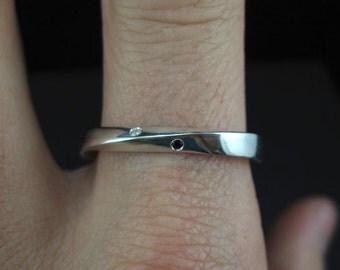 Mobius Wedding Ring, Diamond mobius Wedding Band, 4mm Mobius Diamond Ring, Gold Infinity Ring, Gold Mobius Wedding Band, Mobius Gold Ring