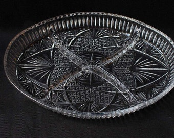 Vintage Cut Glass Divided Candy Dish Relish Dish Serving Dish