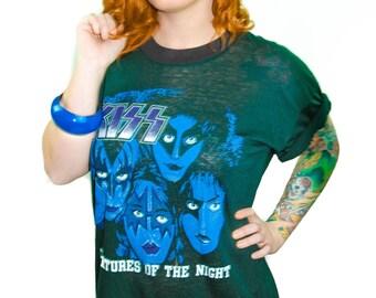Vintage KISS shirt Creatures of the Night 1980s Band Tee Concert shirt Kiss Tee Heavy Metal Glam Rock Punk Rock Metal Metallica Slayer XL