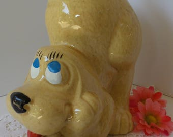 Vintage McCoy DOG COOKIE JAR, McCoy Hound Dog Cookie Jar, Thinking Dog Cookie Jar, Vintage Puppy Cookie Jar, Dog Treat Jar, Retro Cookie Jar