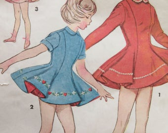 Vintage Simplicity 4483 Sewing Pattern, Child Skating Dress Pattern, 1960s Dress Pattern, Full Skirted Dress, Chest 26, 1960s Sewing Pattern