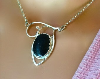 Black Sea Glass Necklace Fine and Argentium Silver Jewelry Secret TEAL