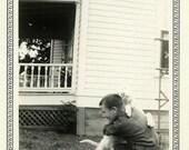"Vintage Photo ""Peter and Puppy Hugs"" Snapshot Antique Photo Old Black & White Photograph Found Paper Ephemera Vernacular - 191"