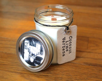 Coconut Lime Verbena Soy Candle - Plantable Tag - Soy Wax - Woodwick - Wildflower Seeds - 8oz. Soy Candle - Americana - Goat