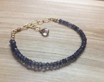 Iolite Bracelet, Blue Gemstone Bracelet, Blue Iolite Bracelet, Simple Iolite Gemstone Bracelet, Water Sapphire Bracelet, Blue Stone Bracelet