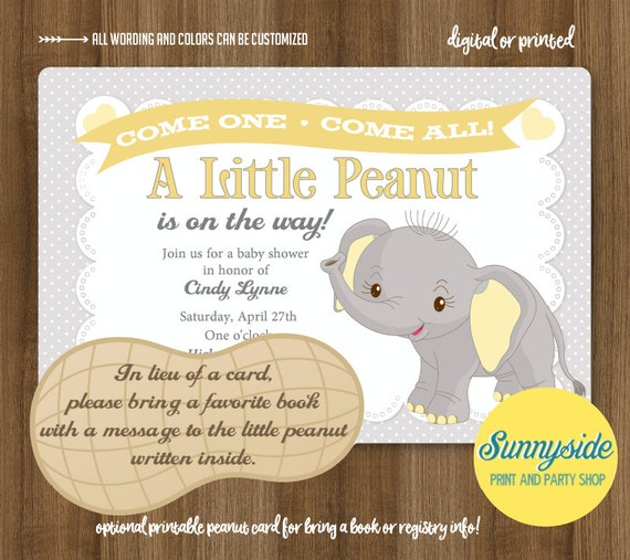 Little peanut baby shower invitation printable elephant gray yellow il570xn filmwisefo Choice Image