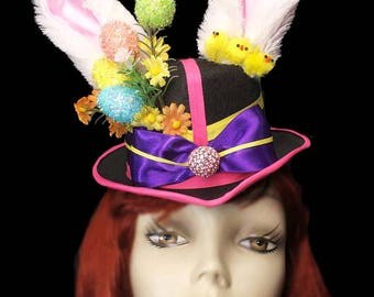 Easter Bunny Rabbit Fascinator Top Hat Alice Mad Tea Party Mini Victorian Steampunk