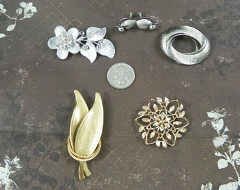 1950s Five Piece Vintage Silver Gold Floral Costume Jewelry Lot Set Brooch Pin Screw Back Earrings Instant Collection Mothers Day Gift