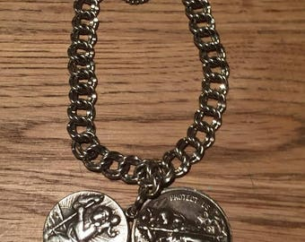 "Two Saint Christopher Vintage Sterling Silver Religious Medals on 6.5"" James Avery bracelet"