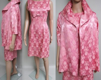 Vintage 1950s Dress//50s Dress//Mod//New Look//Rockabilly//Party Dress//Pink//Hourglass
