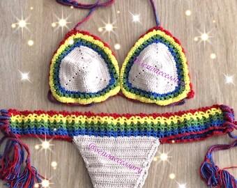 Swimwear Swimsuit Crochet Bikini Brazilian Bikini Festival Top Cheeky Bottom2017 Summer Fashion // senoaccessory