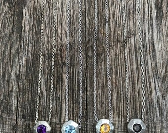 Hand SCULPTED Sterling Silver NECKLACE with Faceted BIRTHSTONES, Citrine, Amethyst, Blue Topaz and Smokey Quartz