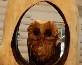 Chainsaw Carving Owl In Window