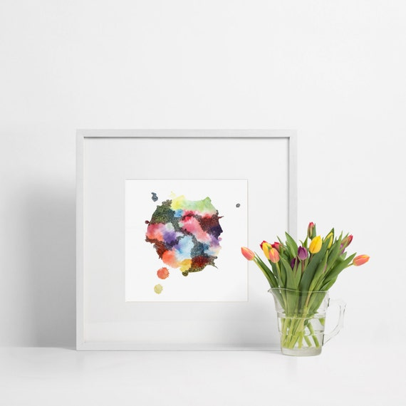 Abstract Watercolor Square Art Print / Bright Colorful Rainbow / Minimalist Modern Decor
