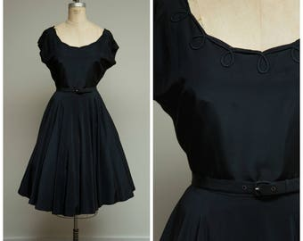 Vintage 1950s Dress • Think of You • Black 50s Dress with Full Skirt Size Medium