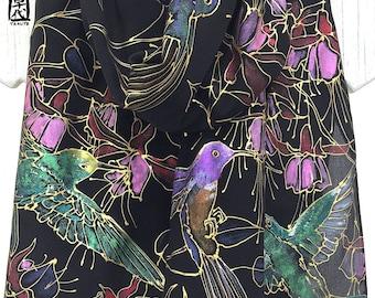 Bird Scarf, Handpainted Silk Scarf, ETSY, Luxury Gift, Black Silk, Hummingbirds Scarf with pink Fuschia flowers, Takuyo, 14x72 inches.