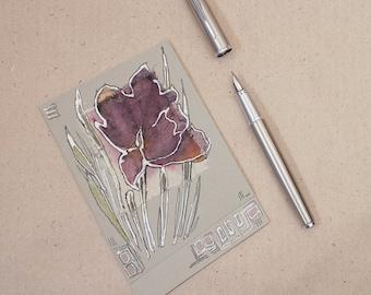 Purple fantasy flower - blank greeting card, handmade, art, painting light green, mauve flower, wild flower, grey, black, pink silver - OOAK