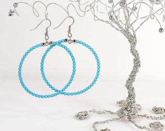 Large Hoop Earrings Turquoise Swarovski Pearl Earrings