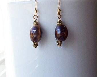 Brown Earrings Chocolate Coffee Oval Bead Earrings in Gold
