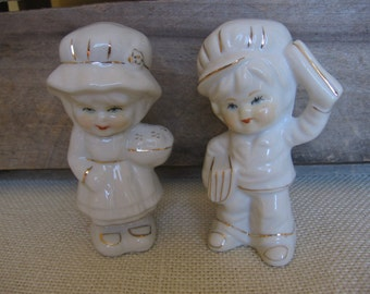 White Ceramic Boy Girl Figurines, Paper Boy, Baker Girl, White Gold, Set of TWO, 4 1/2 Inch, Collectible Figurines