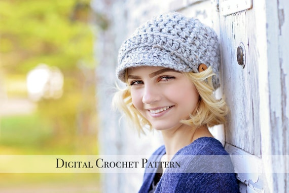 Crochet Pattern / Hat Pattern / Ribbed Newsboy Hat Pattern 014 / Brimmed Hat Pattern / Beanie Hat Pattern / Chunky Hat Pattern