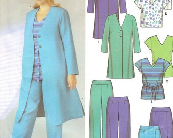 Plus Size Duster Tunic Top Pants Skirt Pattern Womens 26 28 30 32W Uncut Sewing Pattern
