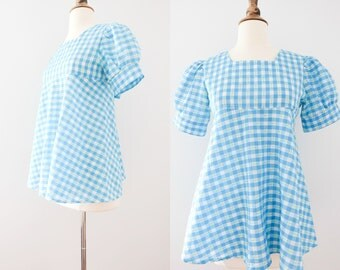 1970s Gingham Babydoll Top // 60s Cotton Checkered Blouse