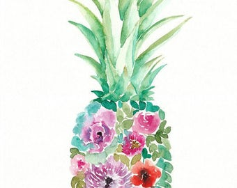 Watercolor Flower Pineapple, original art, 11x14, watercolor flowers, floral painting, pineapple art, home decor, tropical painting, purple
