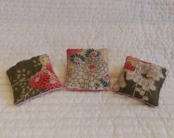 3 miniature kimono lavender sachets, scented pillows, lavender bags, kimono pillows, embroidered sachets; housewarming gift, gift for her