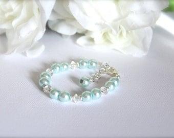 Something Blue Flower Girl Gift Keepsake Bracelet Jr Bridesmaid 1st Pearls, Baby Blue Pearls Little Girls Jewelry -FREE Gift Packaging