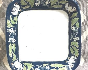 In Stock - SQUARE CASSEROLE Ceramic Hand Made SGRAFFITO Carving - Stoneware Serving Dish, Heating - Bunnies Ducks Rabbits Greenery