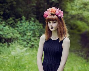 Mia - Pink Flower Crown Headband | Peony Flower crown | Rose Flower Crown | Floral Headpiece | Festival HeadBand