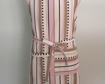 Pink and Brown Stripe Canvas Apron with Pocket and Towel Loop, Adjustable Chef Apron, Extra Wide, Ice Cream Shop Apron, Bakery Apron