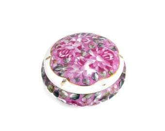 Vintage Dresser Box Pink Flowers Jewelry Storage Porcelain Trinket Box Chintz Collection Formalities by Baum Bros Candy Dish Covered Bowl