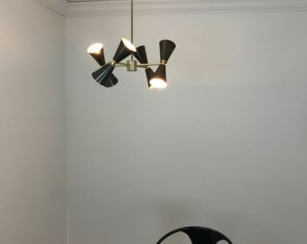 Modern brass chandelier - 8 bulb - blackened brass - dining room light - UL LISTED - Onna Chandelier READY to ship