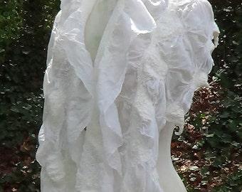 Bridal wedding wrap, White bridal robe, Wedding scarf shawl, Bridal felted scarf, Felted wool scarf, Nuno felted merino wool felt cape shawl